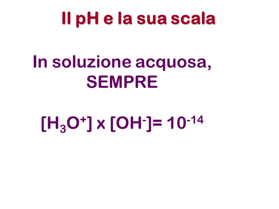 Il pH e la sua scala In soluzione acquosa, SEMPRE [H3O+] x [OH-]= 10-14